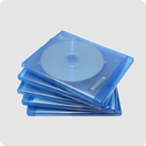 Blu ray manufacturing example photo : blu ray disc in blue outer packaging