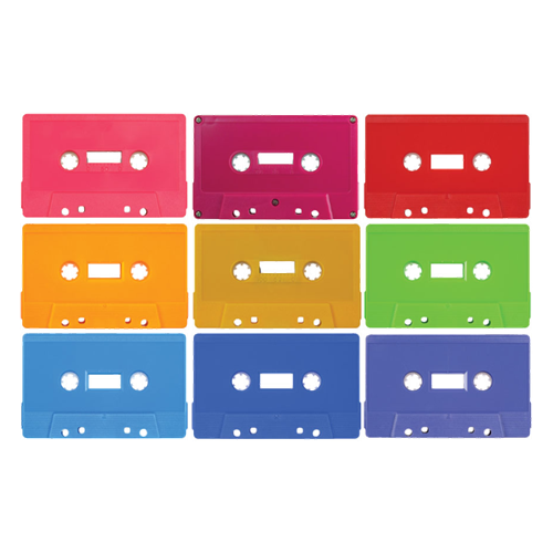 Custom cassette tapes in different shell colors.