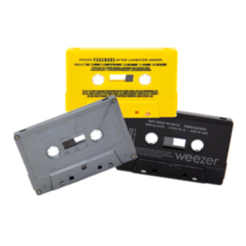 Cassette duplication example images of grey, yellow, and black tape shells