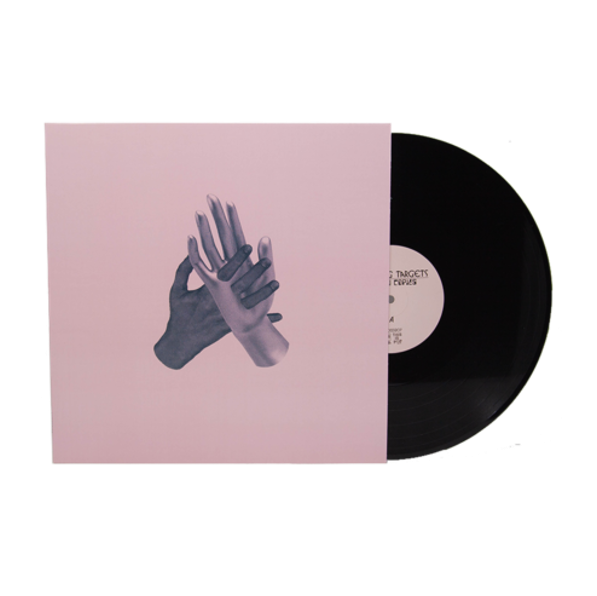 Black vinyl record with pink label and sleeve with graphic