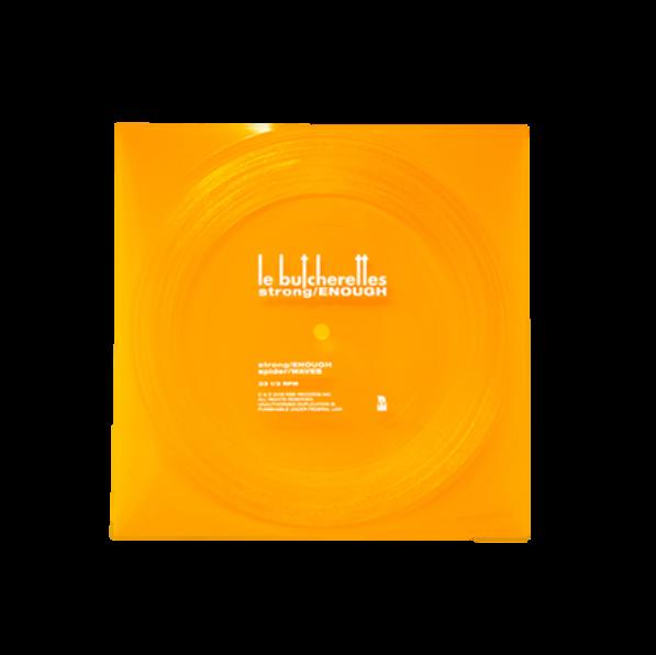 Orange flexi disc with white text
