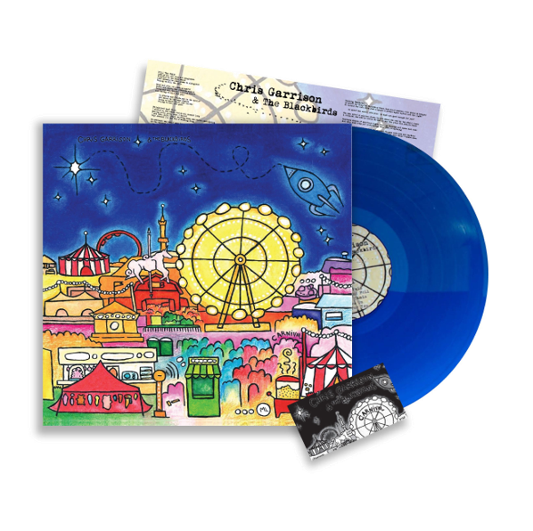 Blue vinyl record with colorful label, packaging and download card
